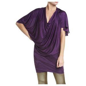 BCBGMaxAzria Runway Jersey Draped Dress Grape S